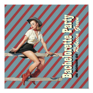 retro stripes cowgirl western bachelorette party card