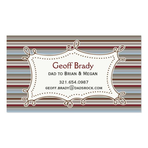 Retro Stripes Daddy Card Business Card Template