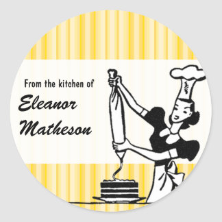 "Retro Stripes ""From the Kitchen"" Classic Round Sticker"