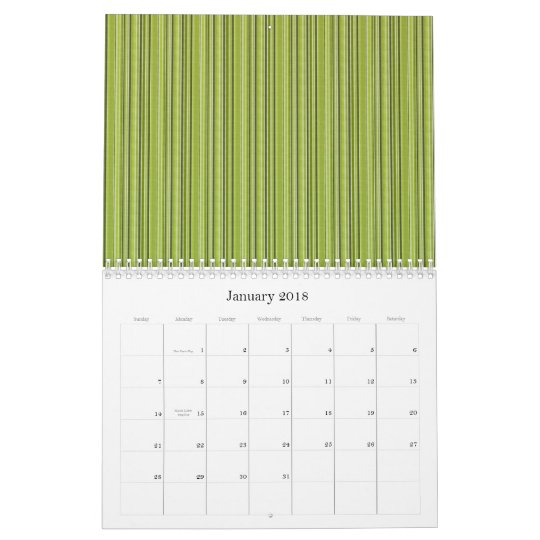 Retro Stripes In Green Professional Business Calendar