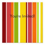 Retro Stripes Invitation 13 Cm X 13 Cm Square Invitation Card