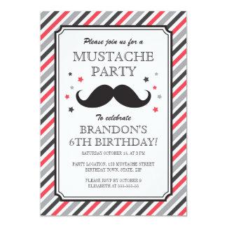 Retro stripes mustache bash kids birthday party 5x7 paper invitation card