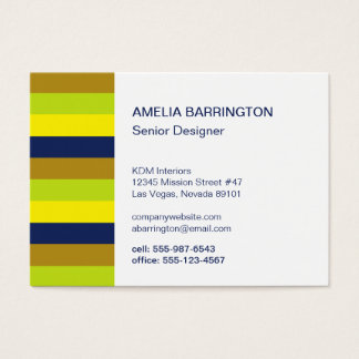 Retro stripes navy creative professional large business card