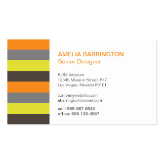 Retro stripes orange brown creative professional business card