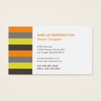 Retro stripes orange brown creative professional business card