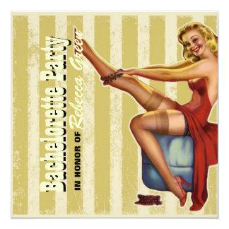 retro stripes pin up bachelorette party invitation