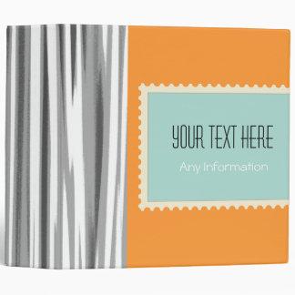 Retro Stripes. Plain Orange Background 3 Binder