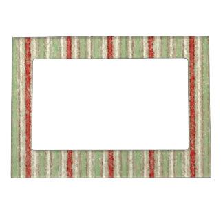 Retro Stripes Red Green Beige Stripe Photo Frame Magnet