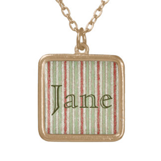 Retro Stripes Red Green Grunge Gold Plated Necklace