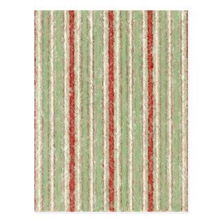 Retro Stripes Red Green Grunge Postcard