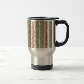 Retro Stripes Red Green Grunge Travel Mug