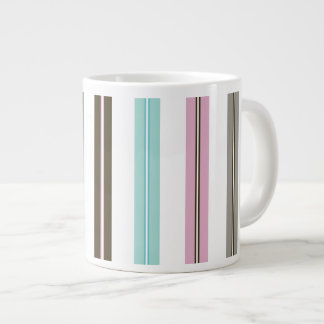 Retro Stripes 20 Oz Large Ceramic Coffee Mug