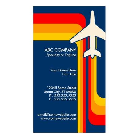 Retro Stripes Aviation Business Cards