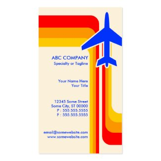 A business card for the airline travel industry featuring modern colorful stripes design in red, orange and yellow, with the silhouetted outline of an airplane and your travel business details.