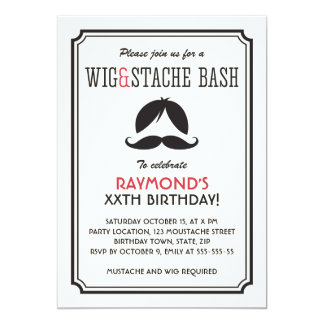 Retro stripes wig and mustache bash birthday party card