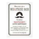 Retro stripes wig and mustache bash birthday party personalized invitation