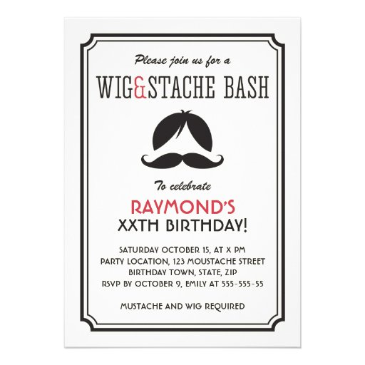 Personalized wig and mustache party invitations retro stripes wig and mustache bash birthday party personalized invitation filmwisefo