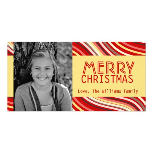Retro Stripes with Customizable Background Color Photo Cards