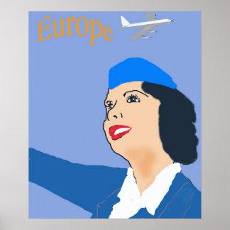 Retro Style 1960's flight stewardess Poster