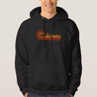 Retro Style Albany New York Skyline Distressed Hoodie