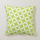 Retro Style Atomic Star Pattern in Lime Green Throw Pillows