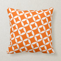 Retro Style Atomic Star Pattern in Orange Throw Pillow