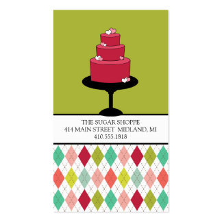 Retro Style Bakery Colorful Argyles Business Cards