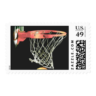 Retro Style Basketball Postage Stamp