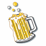 retro style beer graphic cut out