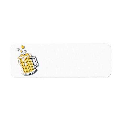 retro style beer graphic custom return address labels