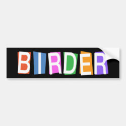 Bumper Sticker with Retro-Style Birder design