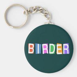Basic Button Keychain with Retro-Style Birder design