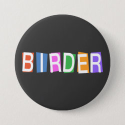 Round Button with Retro-Style Birder design