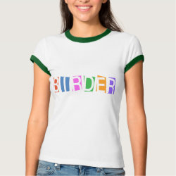 Ladies Ringer T-Shirt with Retro-Style Birder design