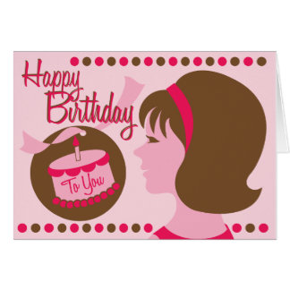 Retro Style Birthday Girl - Greeting Card