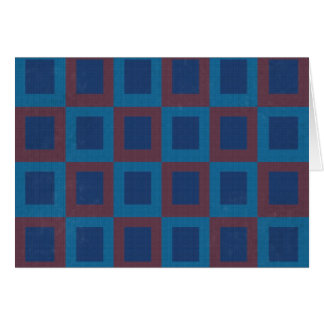 Retro Style Blue and Red Cube Pattern Card