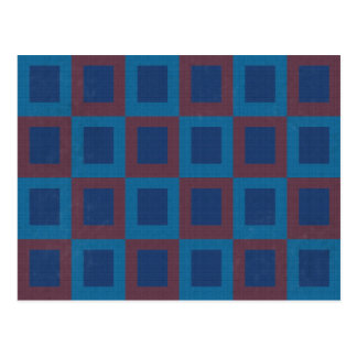 Retro Style Blue and Red Cube Pattern Postcard