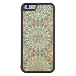 Retro Style Blue, Green and Red Global Medallion Carved® Maple iPhone 6 Bumper Case