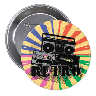 Retro style boom box and cassettes pinback buttons
