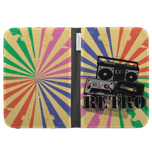 Retro style boom box and cassettes case for the kindle