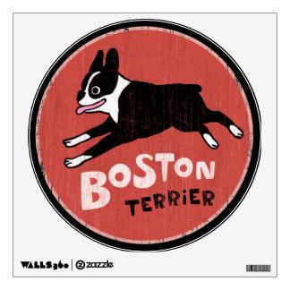 Retro Style Boston Terrier Dog Graphic Wall Sticker