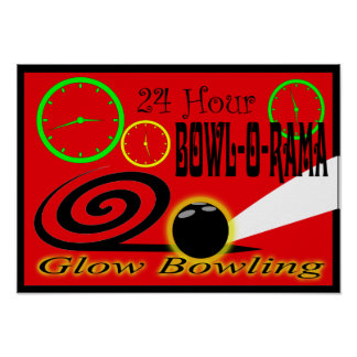 Retro Style Bowlers Poster Glow Bowling Recreation