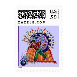Retro Style Bowling Alley 10 Pin Stamp STAMPS