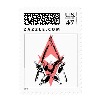 Retro Style Bowling Strike 10 Pin Stamp STAMPS