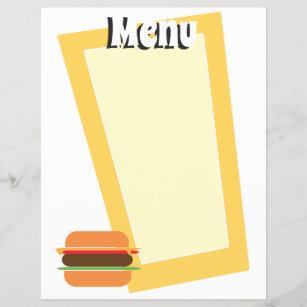 Retro Style Burger Themed Blank Menu