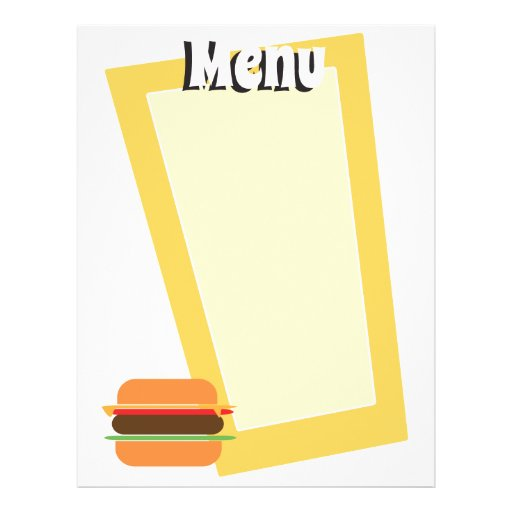 Retro Style Burger Themed Blank Menu Personalised Flyer