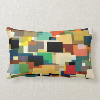 Retro Style Busy Geometric Tile Pattern Lumbar Pillow