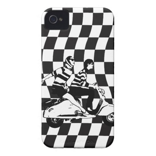 Retro style check fifties scooter couple blackberry bold cases