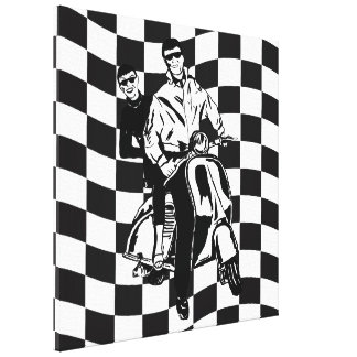 Retro style check scooter boy and girl canvas print