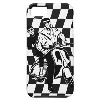 Retro style check scooter boy and girl iPhone 5 case